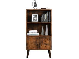 Boekenkast - vintage look - open en gesloten - 60x120x30 cm - vintage bruin