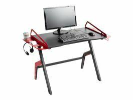 Bureau gamer - metalen frame - zwart/rood