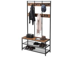 Garderoberek XL - industriële look - 12 haken - 100x186x40 cm - bruin/zwart