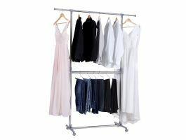 Mobiel kledingrek - verstelbaar - 2 rails - grijs