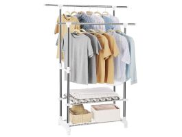 Mobiel kledingrek - dubbelvoudig - 2 rails - grijs/wit