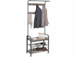 Garderoberek - vintage - 9 haken - 72x183x34 cm - grijs