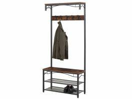 Garderoberek - industriële look - 5 haken - 80x179x32 cm - vintage bruin