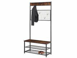 Veelzijdig garderoberek - vintage - 14 haken - 92x187x42 cm - bruin/zwart