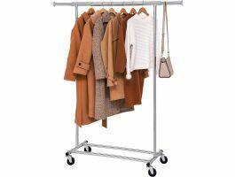 Mobiel kledingrek - verstelbaar - 1 rail - metaal - 160x92>132 cm - zilver