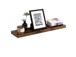 Rustieke zwevende wandplank - 80x3.8x20 cm - vintage bruin