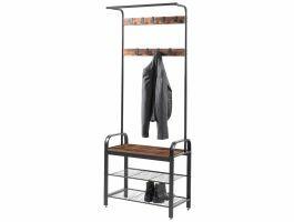 Garderoberek - vintage - 9 haken - 72x183x34 cm - bruin/zwart